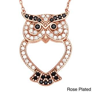 La Preciosa Sterling Silver Owl Heart Cut-out Necklace