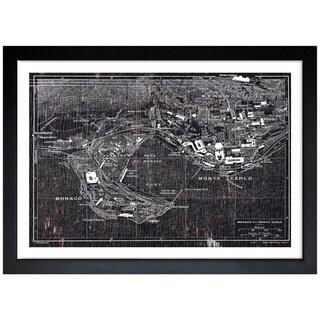 Oliver Gal 'Map of Monaco 1921' Framed Print Art