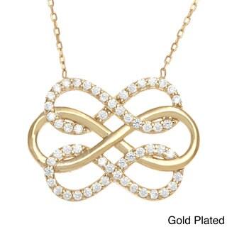 La Preciosa Sterling Silver Cubic Zirconia Intertwined Triple Infinity Figure 8 Necklace