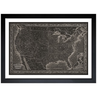 Oliver Gal 'United States of America Map 1864' Framed Art Print