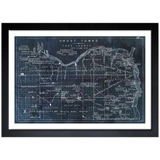 Oliver Gal 'Ghost Towns Map 1866 Noir' Framed Print Art