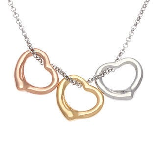 La Preciosa Sterling Silver Tri-color Floating Heart Necklace