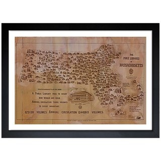Oliver Gal 'Public Libraries of Massachusetts Map' Framed Art Print
