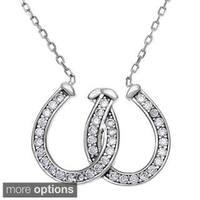 La Preciosa Sterling Silver Cubic Zirconia Intertwined Horseshoe Necklace