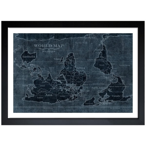 Oliver gal upside down map of the world noir framed art print oliver gal x27upside down map of the world noirx27 gumiabroncs Image collections