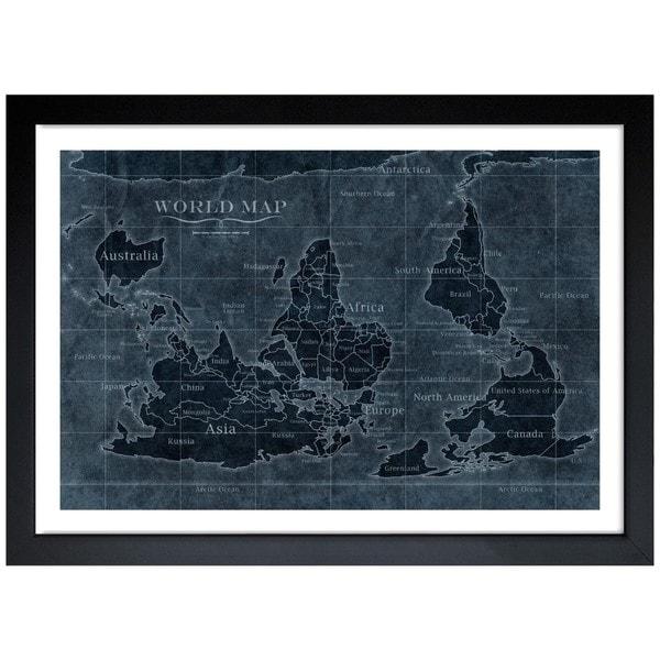 Worksheet. Oliver Gal Upside Down Map of the World Noir Framed Art Print