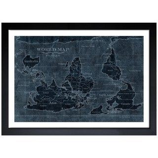 Oliver Gal 'Upside Down Map of the World Noir' Framed Art Print