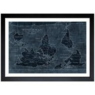 Oliver Gal 'Upside Down Map of the World Noir' Framed Art Print