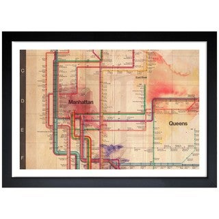 Oliver Gal 'Manhattan Subway Tracks' Framed Print Art