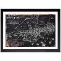 Oliver Gal 'Town of Boston Map 1722' Framed Art Print - Black