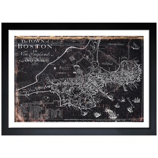 Oliver Gal 'Town of Boston Map 1722' Framed Art Print - Black
