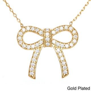 La Preciosa Sterling Silver Cubic Zirconia Bow Necklace