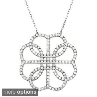 La Preciosa Sterling Silver Round-cut Cubic Zirconia Necklace