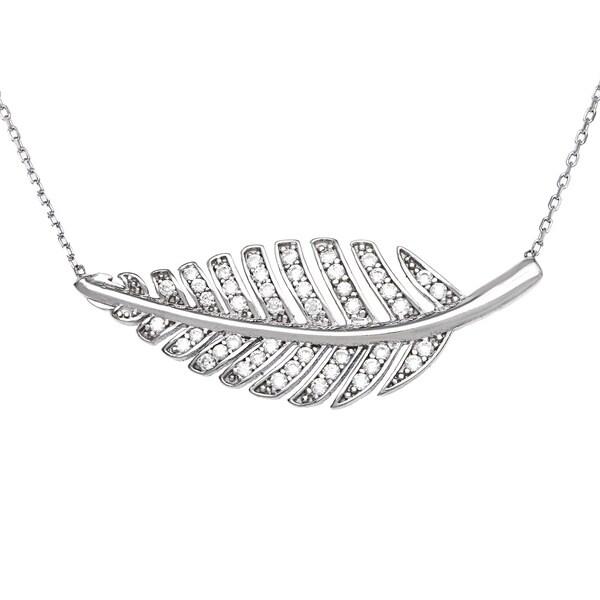 La Preciosa Sterling Silver Cubic Zirconia Leaf Necklace