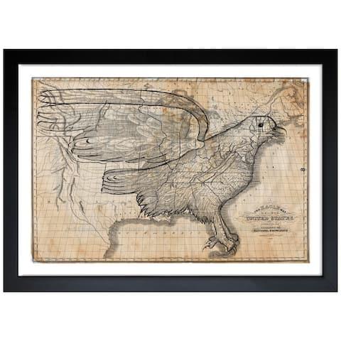 Oliver Gal 'The Eagle Map of the US 1833' Framed Print Art