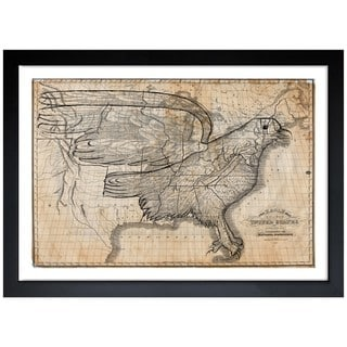Oliver Gal 'The Eagle Map of the US 1833' Framed Print Art