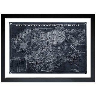 Oliver Gal 'Map of Havana Water Distribution 1899' Framed Art Print