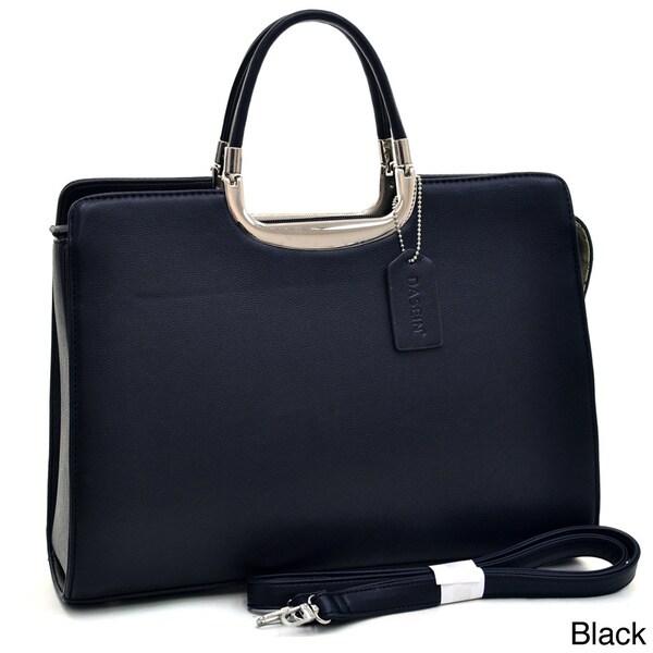 Dasein Classic Faux Leather Fashion Briefcase Handbag