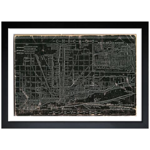 Oliver Gal 'Chicago Railroad' Framed Art Print - Black