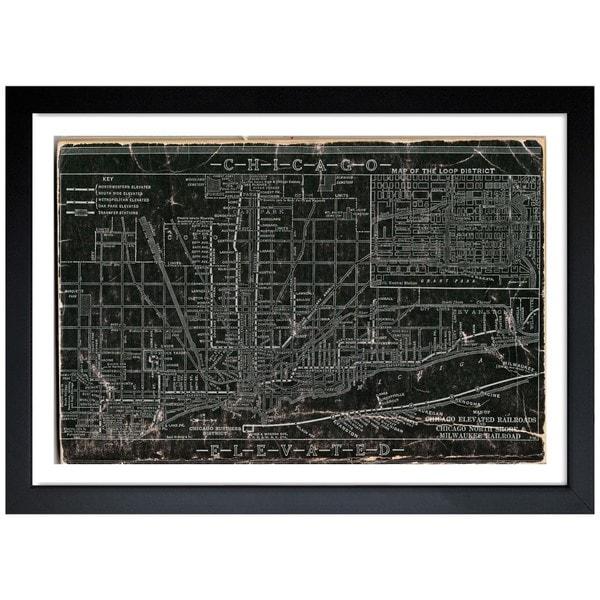 Oliver Gal \'Chicago Railroad\' Framed Art Print - Black - Free ...