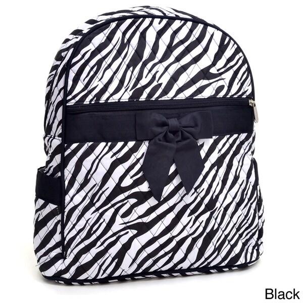 Rosen Blue Zebra Printed Quilted Backpack Purse