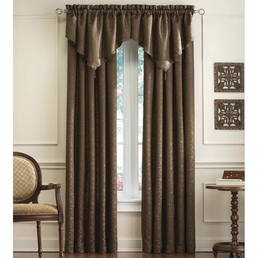 Mercato Damask Jacquard Curtain Panel Pair and Valance Se...