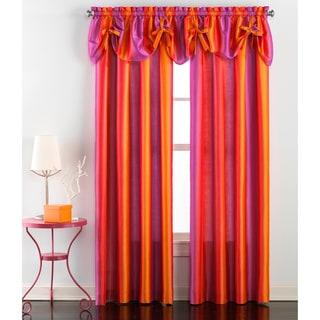 Rainbow Ombre Faux Silk Curtain Panel Pair and Valance Set