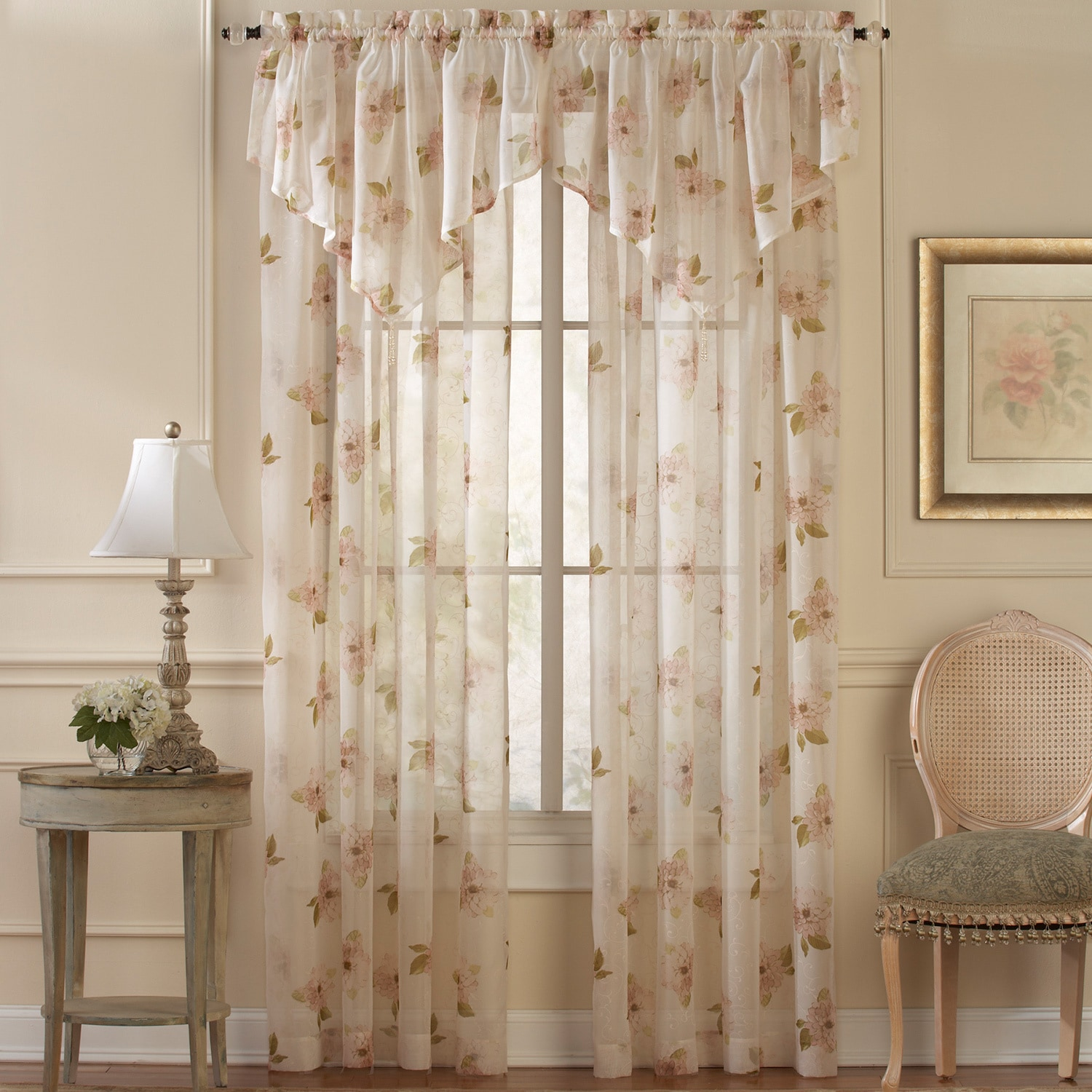 CHF Waterlily Floral Sheer Curtain Panel and Valance Set ...
