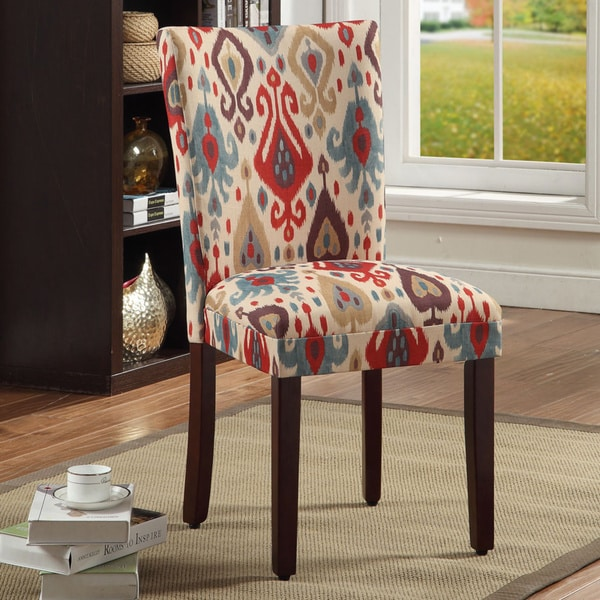 HomePop Parson Deluxe Multi-color Ikat Dining Chairs (Set of 2). Opens flyout.