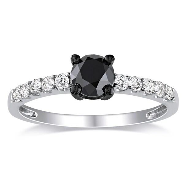 Miadora Sterling Silver 1ct TDW Round Black Diamond Engagement Ring