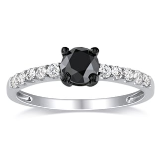 Miadora Sterling Silver 1ct TDW Round Black Diamond Engagement Ring