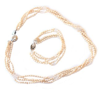 De Buman Freshwater Pearl and White Crystal Jewelry Set (3-4 mm)