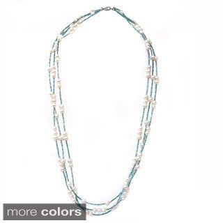 De Buman Freshwater Pearl and Multi-color Glass Long Strand Necklace (6-7 mm)