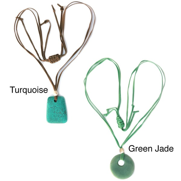De Buman Turquoise or Green Jade Gemstone with Freshwater Pearl Suede Cord Necklace