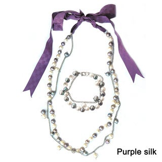 De Buman Freshwater Pearl Silk Jewelry Set (8 mm)