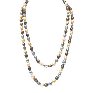 De Buman Multi-color Freshwater Pearl Long Strand Necklace (9-10 mm)