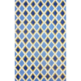 nuLOOM Hand-tufted Diamond Trellis Blue Rug (7'6 x 9'6)