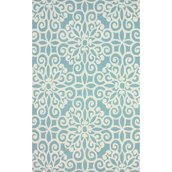 nuLOOM Handmade Cotton/ Wool Damask Lattice Blue Rug - 7'6 x 9'6