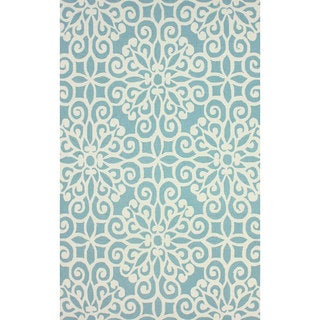 nuLOOM Handmade Cotton/ Wool Damask Lattice Blue Rug (7'6 x 9'6)