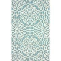 nuLOOM Handmade Cotton/ Wool Damask Lattice Blue Rug - 7'6 x 9'6