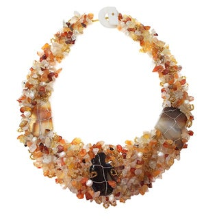 Handmade Tropical Cascades Carnelian Adornment Necklace (Philippines)