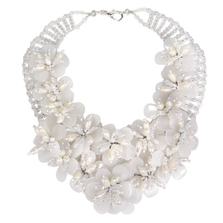 Floral Lush Clear Quartz Garland Bridal Necklace (Thailand)
