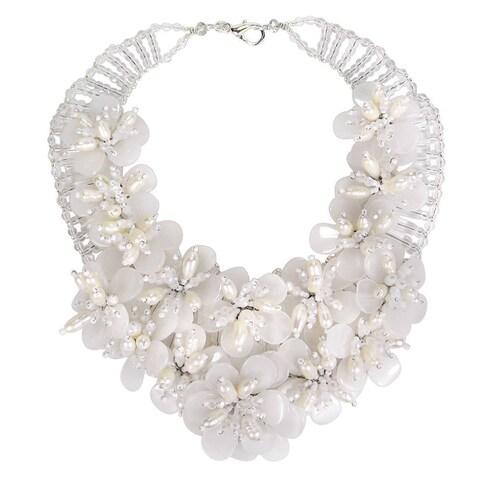 Handmade Floral Lush Clear Quartz Garland Bridal Necklace (Thailand)