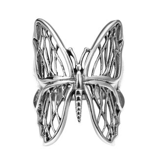 Handmade Exotic Wings Wild Butterfly .925 Sterling Silver Ring (Thailand)
