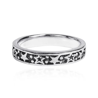 Handmade Planet and Stars Around Band Sterling Silver Ring (Thailand)