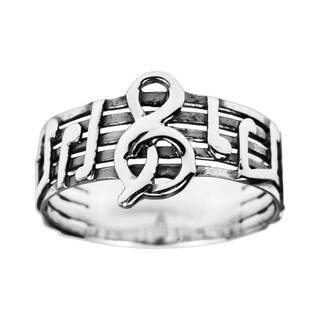 Handmade Musical Note Melody .925 Sterling Silver Ring (Thailand)