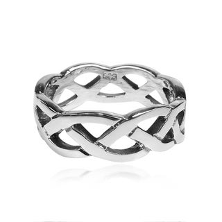 Handmade Waves of Celtic Knots Eternity Band Sterling Silver Ring (Thailand)