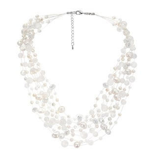 Handmade Classy Cascades of Freshwater Pearls Necklace (Thailand) (Option: Black)