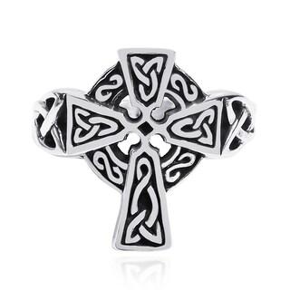 Handmade Celtic Knot Embellished Cross .925 Sterling Silver Ring (Thailand)
