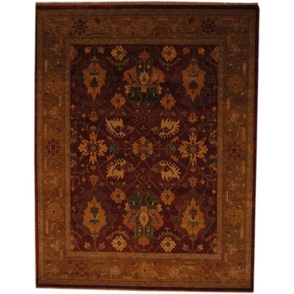 Herat Oriental Indo Hand-knotted Vegetable Dye Rust/ Gold Wool Rug (7'10 x 10') - 7'10 x 10'